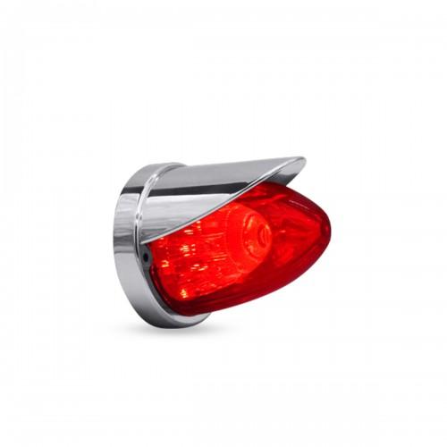 LAMPARA LATERAL MISIL 10.4 X 8.9 CM 24V ROJO VISERA CROMADA